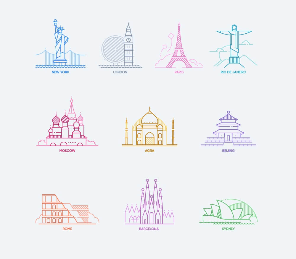 World Cities Icons Set