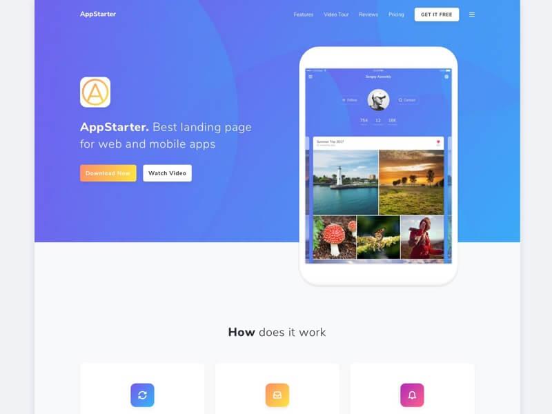 Appstarter Website Template Sketch-PSD