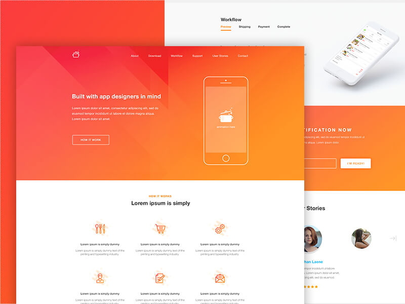 Cook Landing page PSD