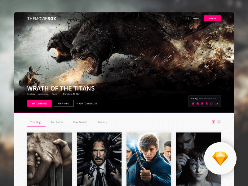 movie website template sketchapp