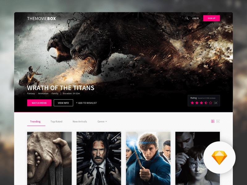 Movie website template Sketchapp