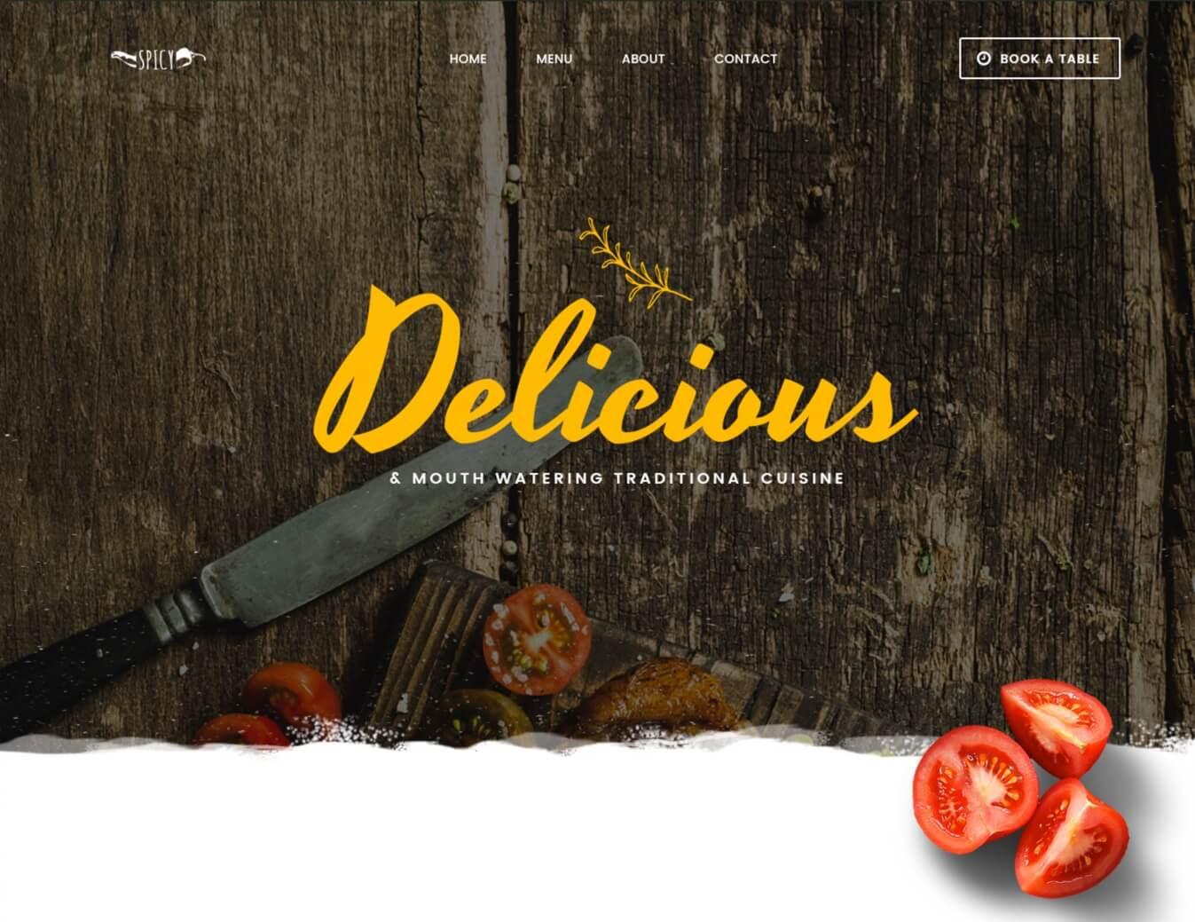 Spice Restaurant Template PSD
