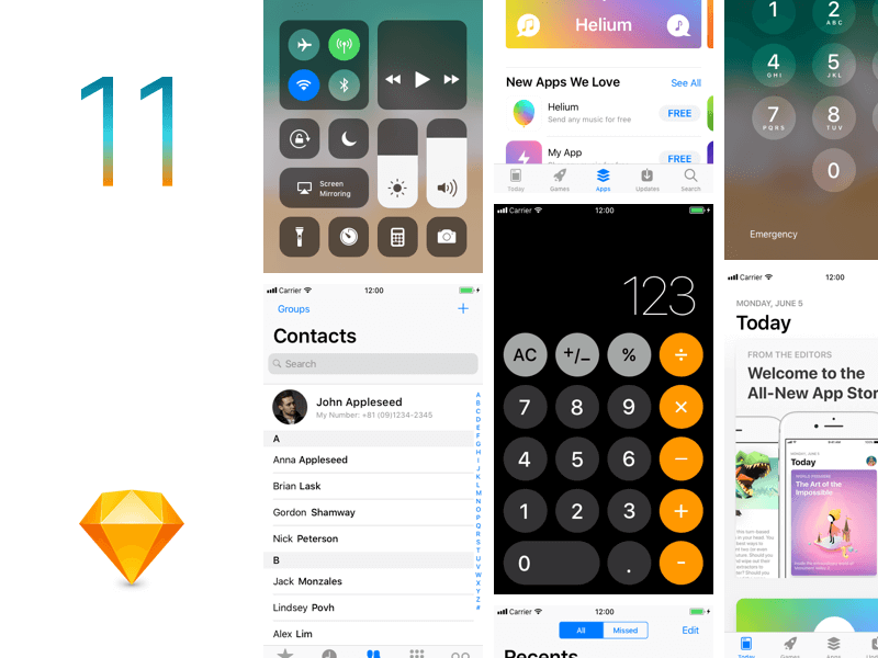 iOS11 GUI Template Sketch app