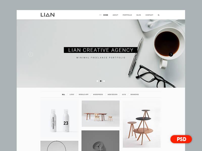 Minimal portfolio webdesign PSD