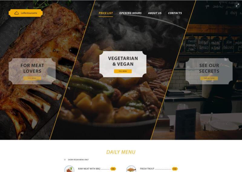 Restaurant Landing Page PSD