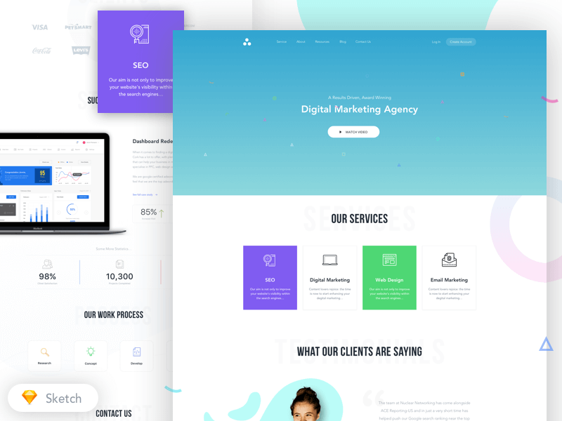 Agency Homepage design sketchapp