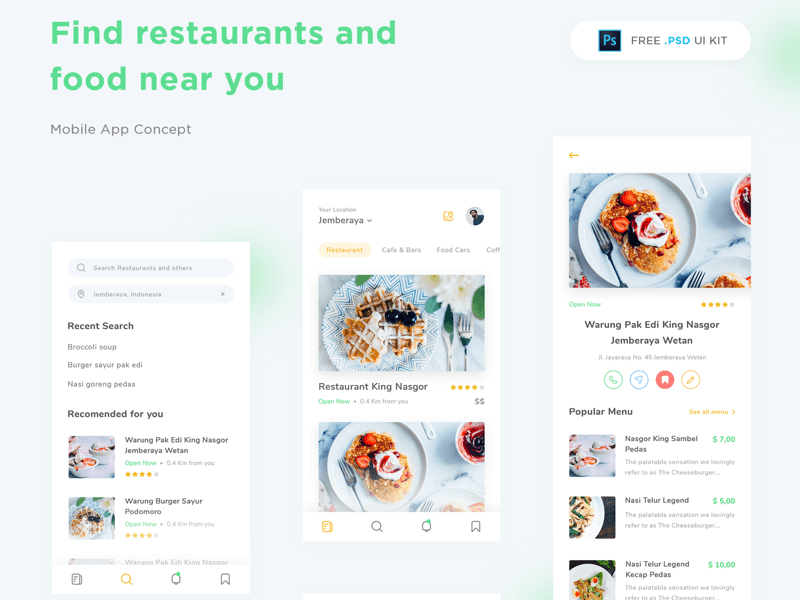 Restaurant App FREE PSD