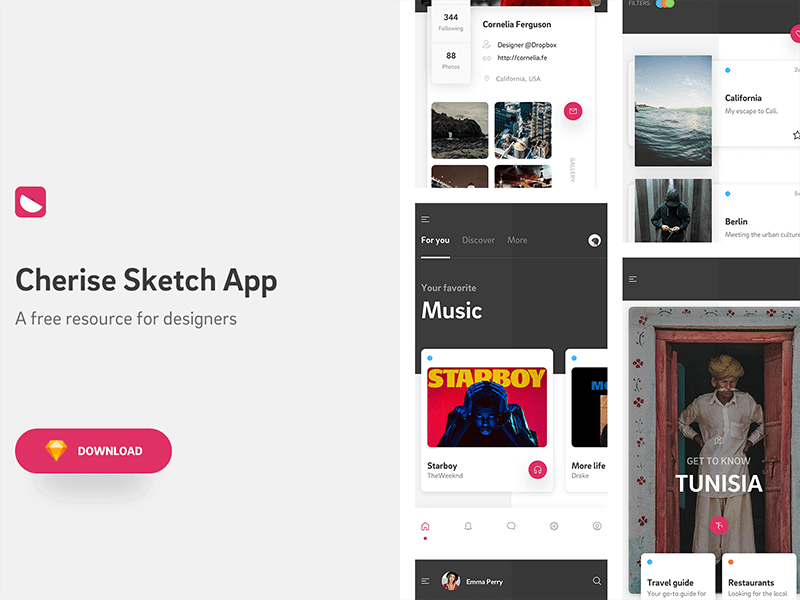 Cherise mobile app template Sketch