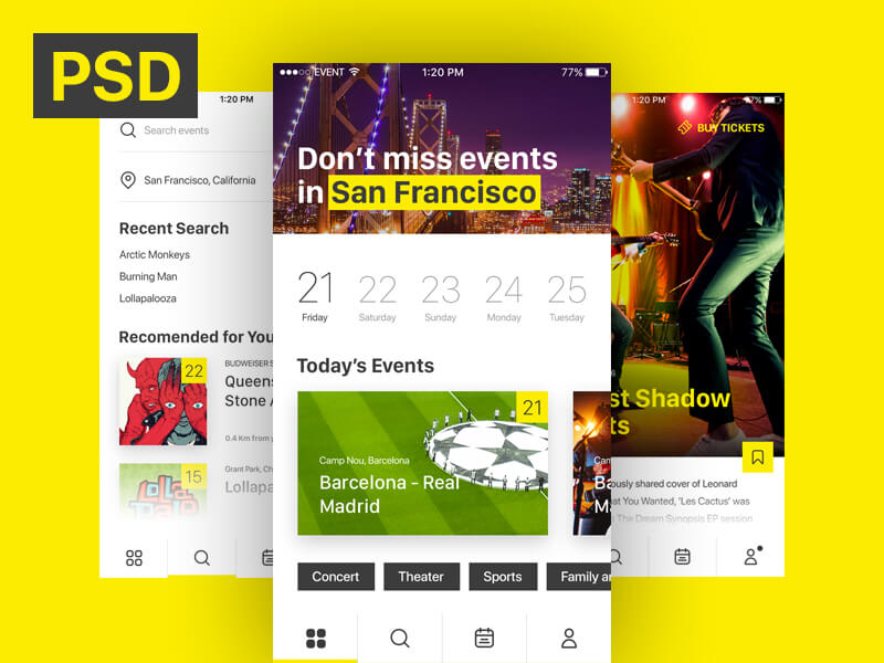Event & Ticket Sales App PSD