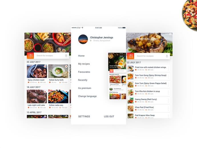 Food recipes mobile app PSD