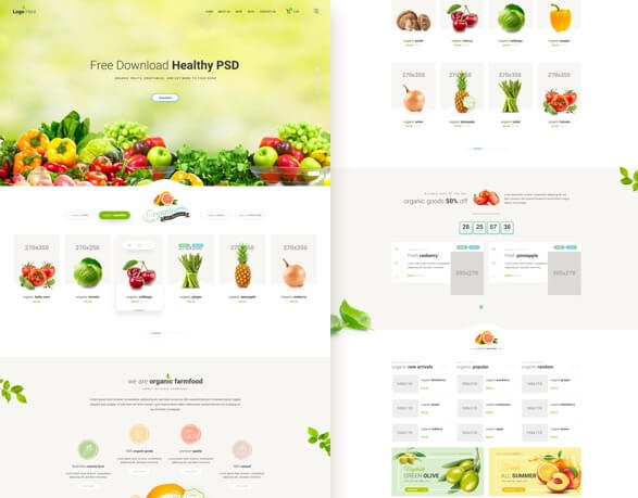 Healthy food website FREE PSD