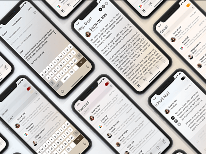iOS 12 Mail Concept UI Kit Sketchapp
