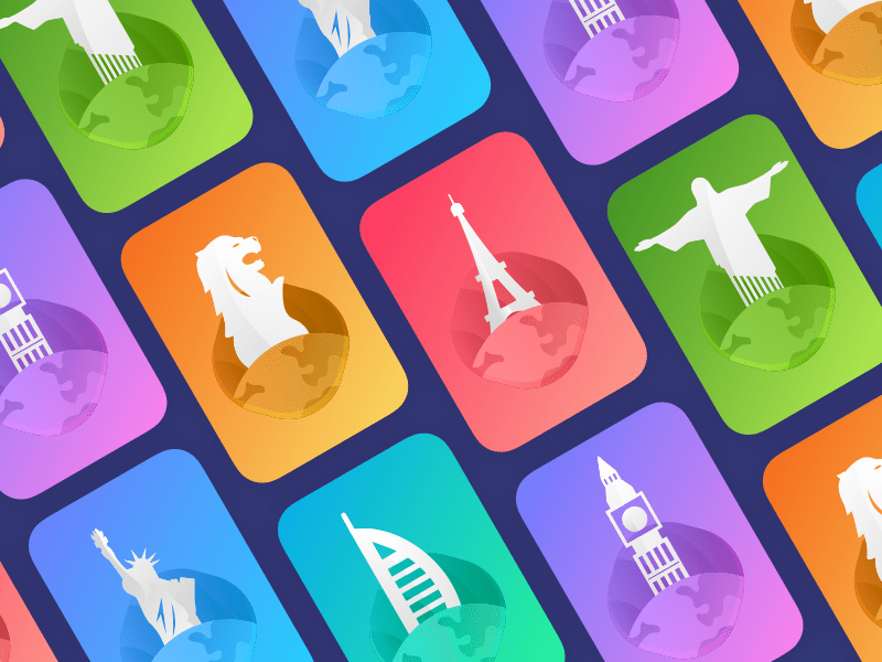 Card view for most visited locations Sketchapp