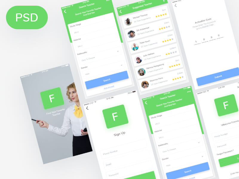 Finder Teacher Apps PSD
