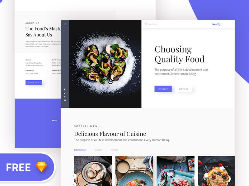 Foodly Landing page Sketch app