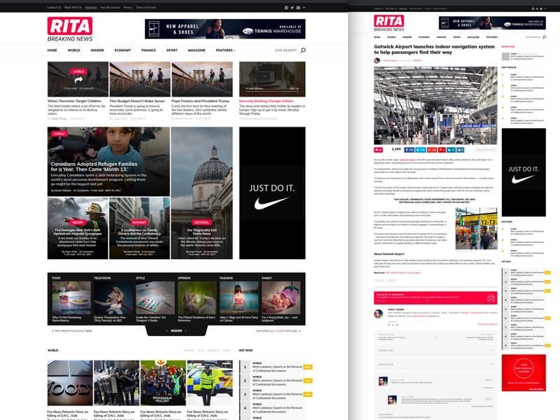 RITA Premium Magazine Theme FREE PSD