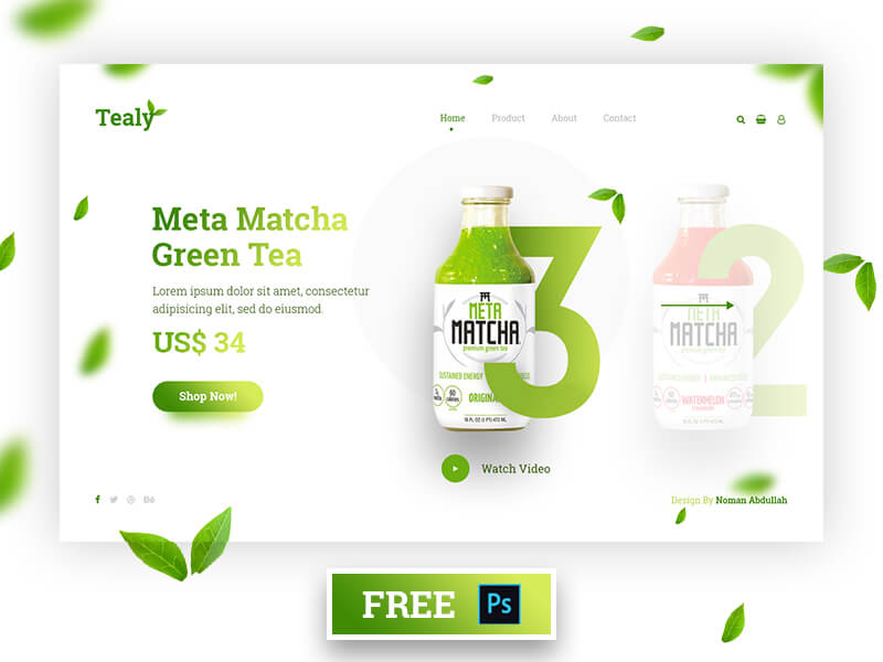 Tealy Homepage PSD