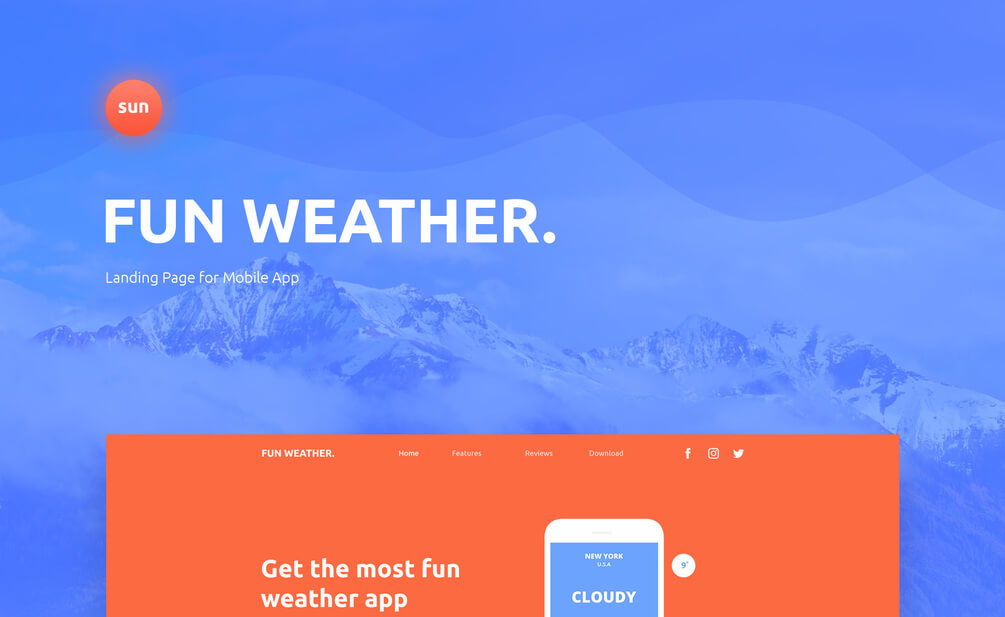 WeatherApp Website Landing Page PSD