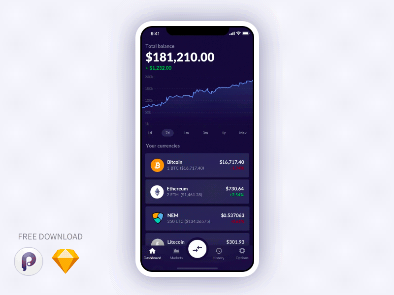 CryptoWallet app Free Template