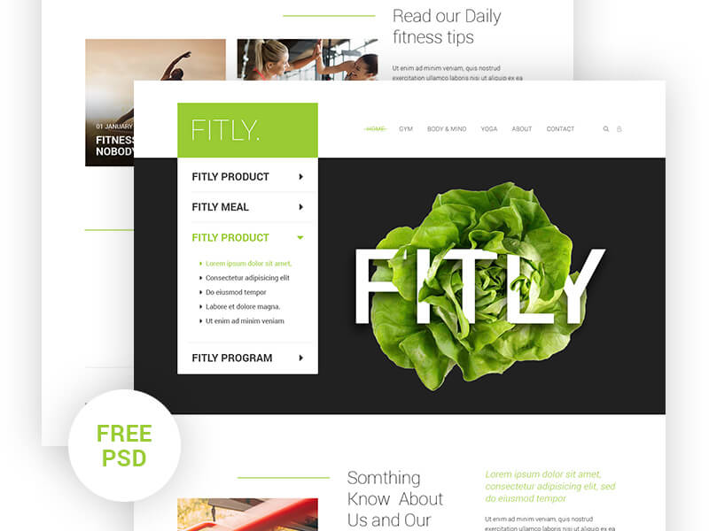 Fitly web landing page PSD