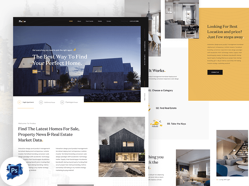 Real Estate Landing Page PSD