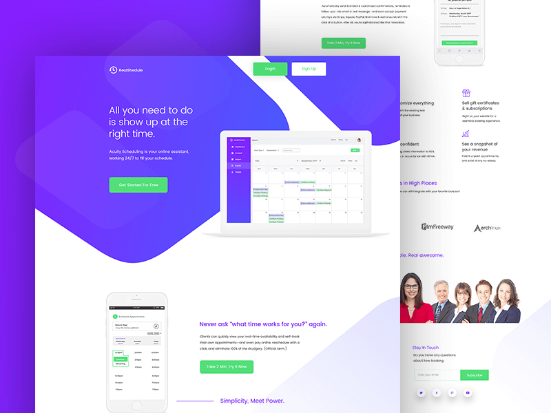 Schedule landing page PSD