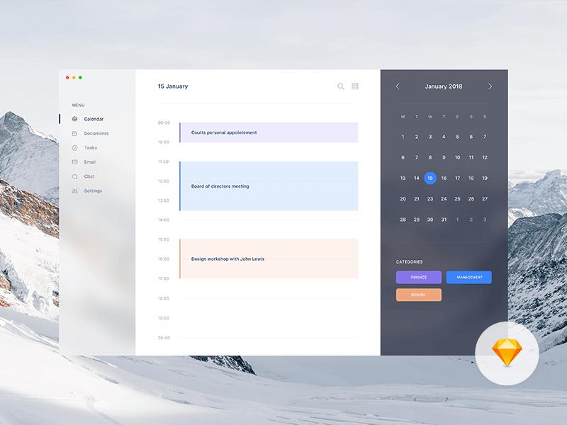 Fluent UI calendar Sketch