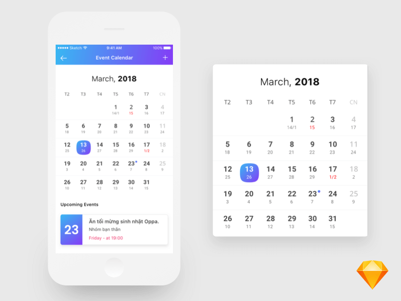 Calendar Design For App : App design free psds sketch resources for