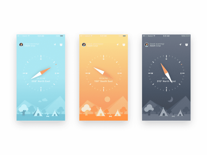 Compass UI and iphone wallpapers Sketch