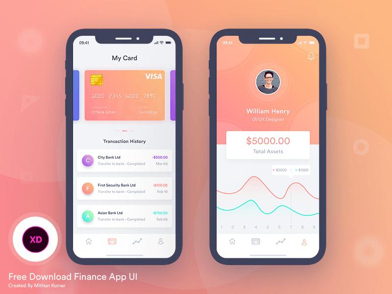 Finance Mobile App UI XD