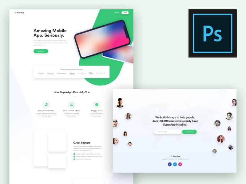 Landing Page Design for App PSD