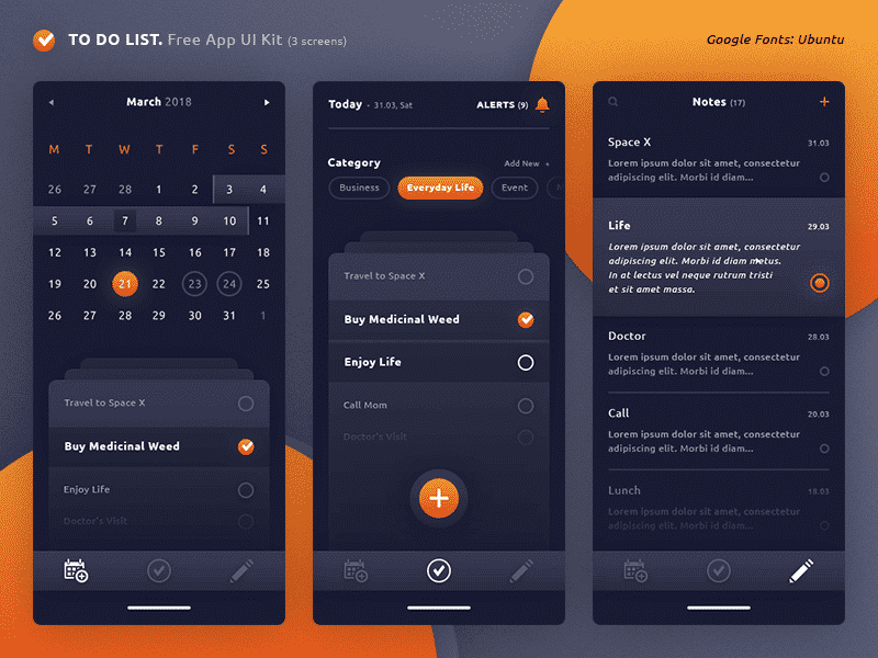To Do List. App UI Kit PSD
