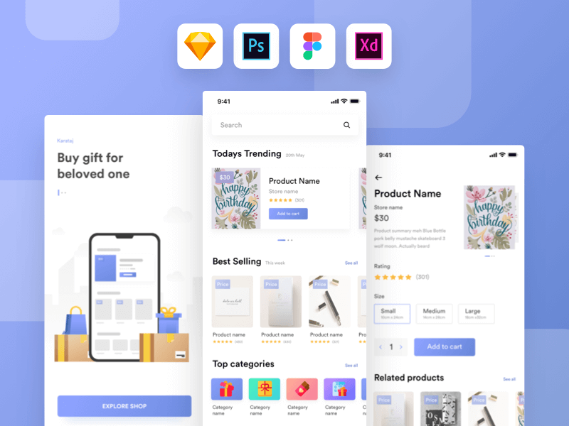 Gift shop UI kit app