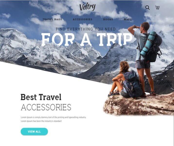 Travel Accessories Website PSD