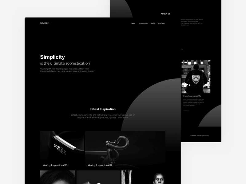 Minimal Black Website Template Sketchapp