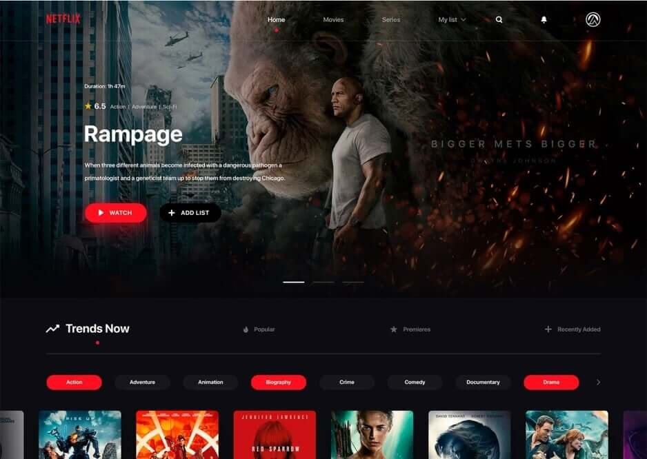 Netflix Redesign Website PSD