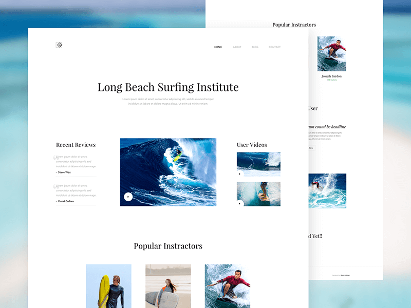Surfing Landing Page Design PSD