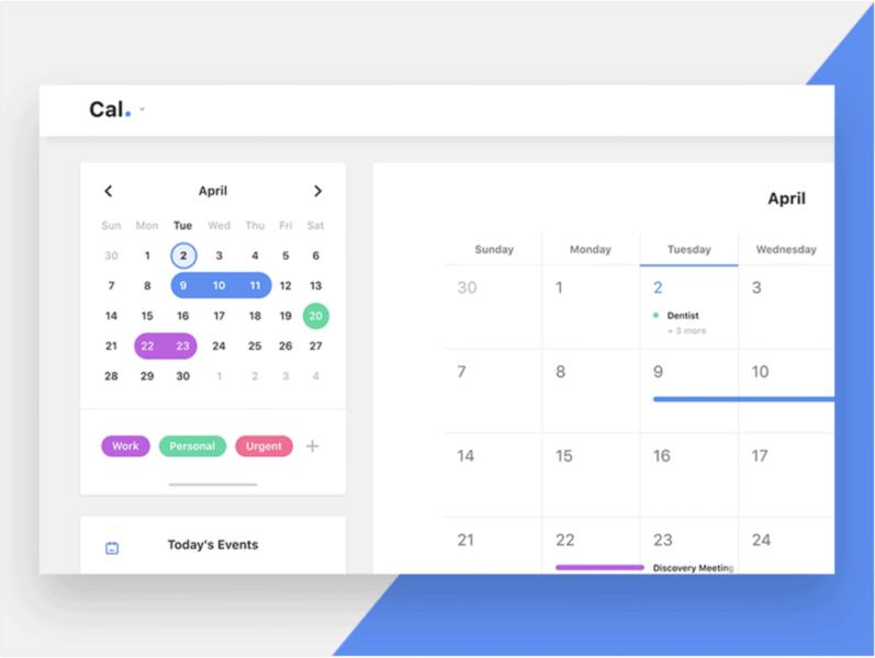 Calendar Desktop App invision studio