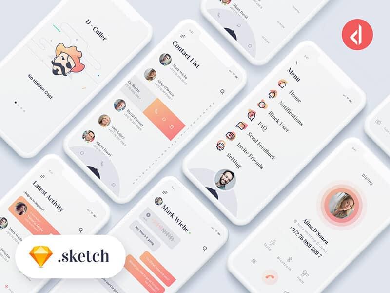 D-Caller - Free Mobile UI Kit Sketchapp