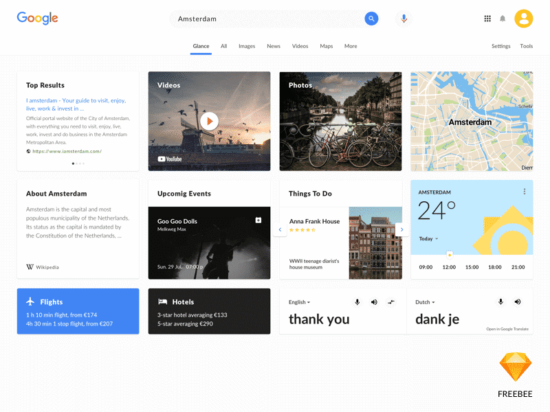 Google serach redesign FREE Sketch