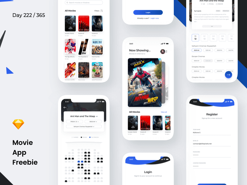 Movie Booking App Sketchapp
