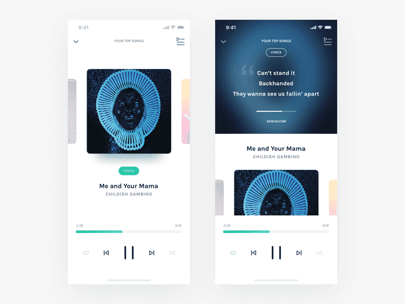Music Player mobile app screens Sketch