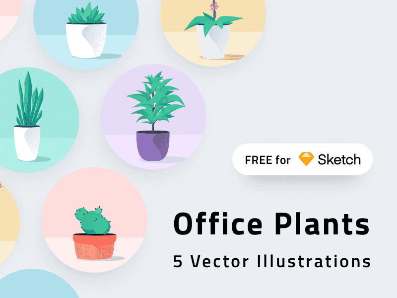 Office Plants Icons Sketch