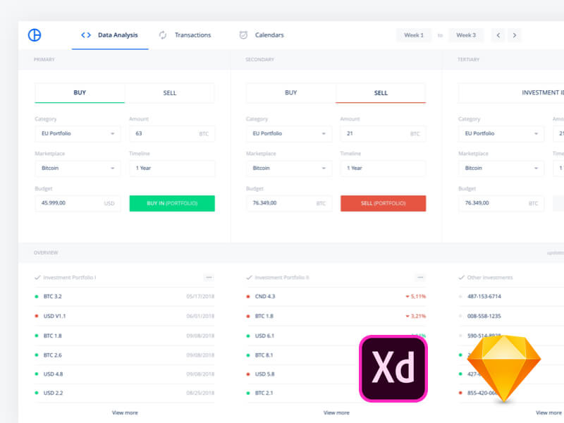 Dashboard design Sketch and Adobe XD