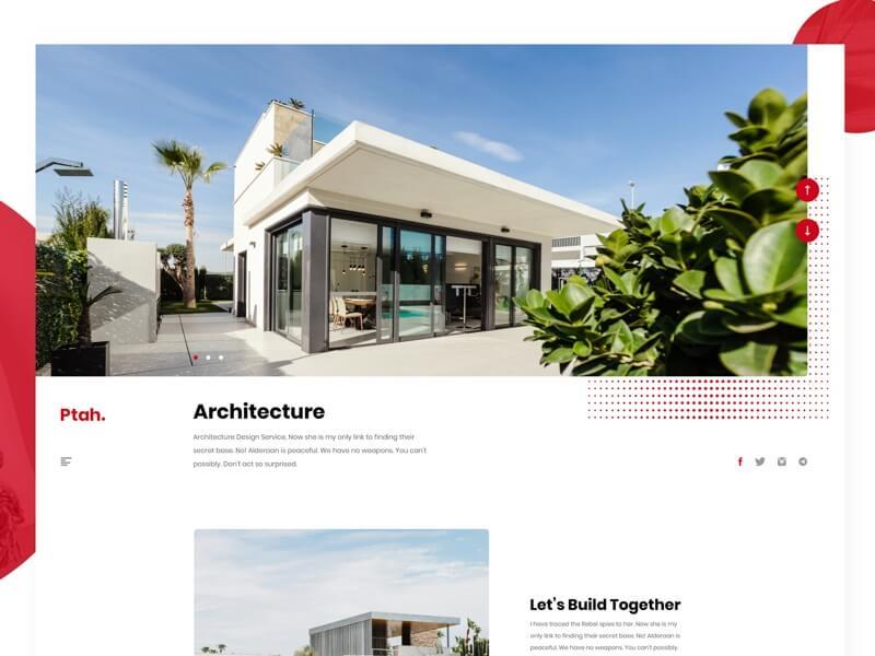 Ptah website template Sketchapp, Adobe XD