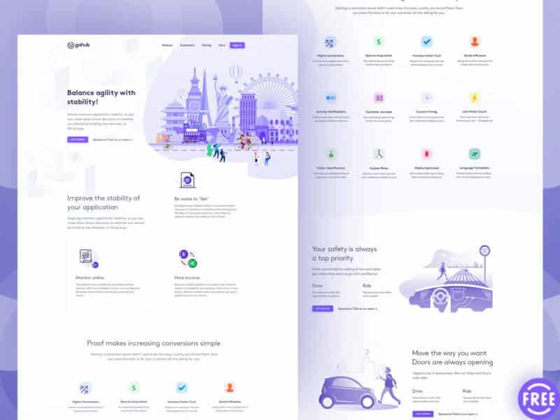 Amazing landing page design FREE PSD