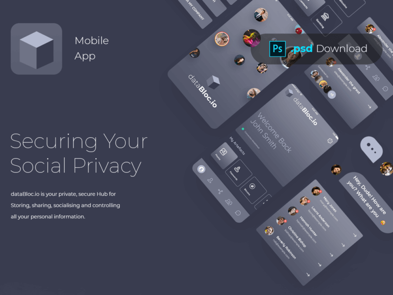 Blockchain Mobile App PSD