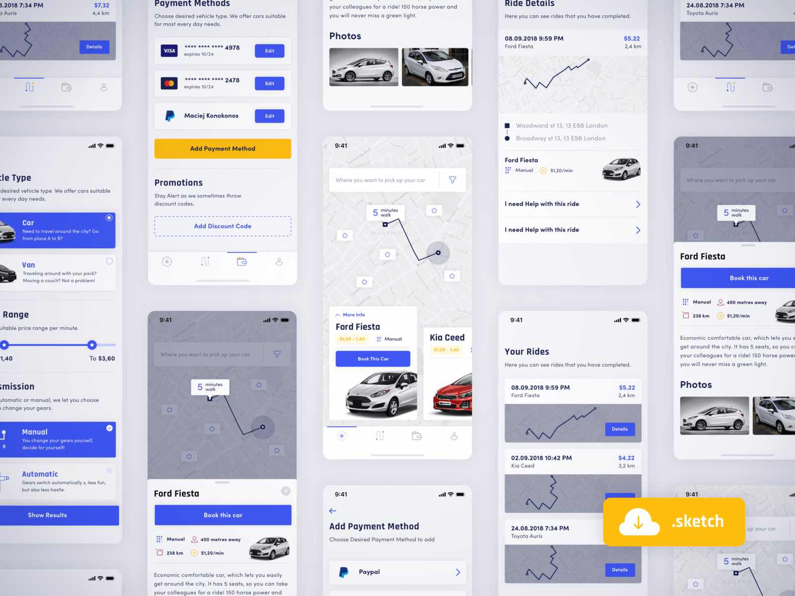 Car sharing app Sketchapp