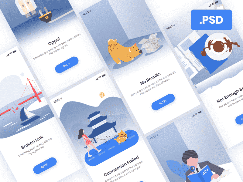 Error & Empty Illustrations Editable PSD