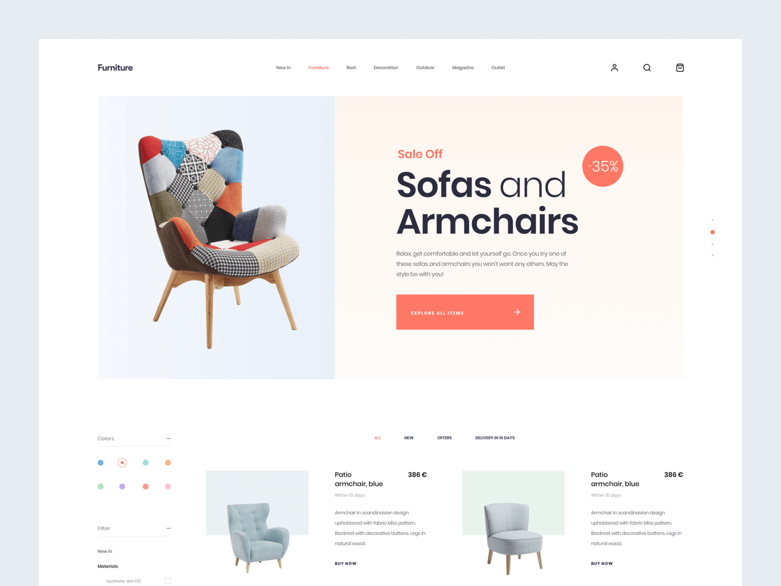 Furniture website template Sketchapp
